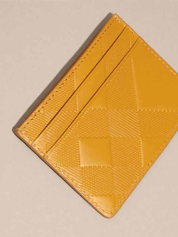 Amber yellow Check Embossed Leather Card Case Amber Yellow - cell image 3