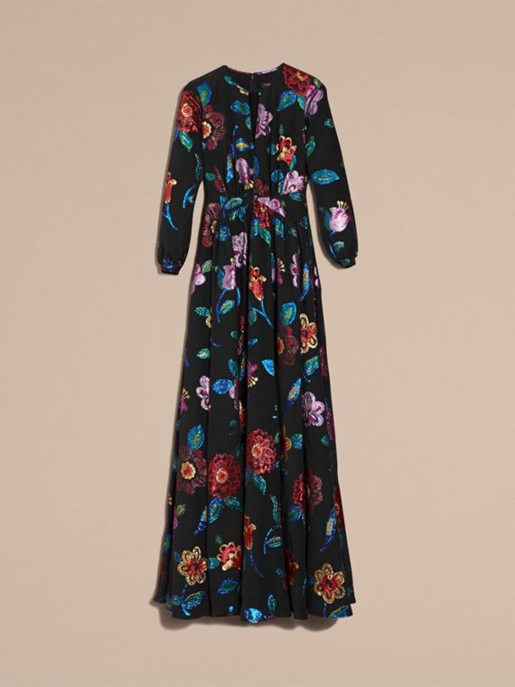 Navy Floral Fil Coupé Silk Gown - cell image 3