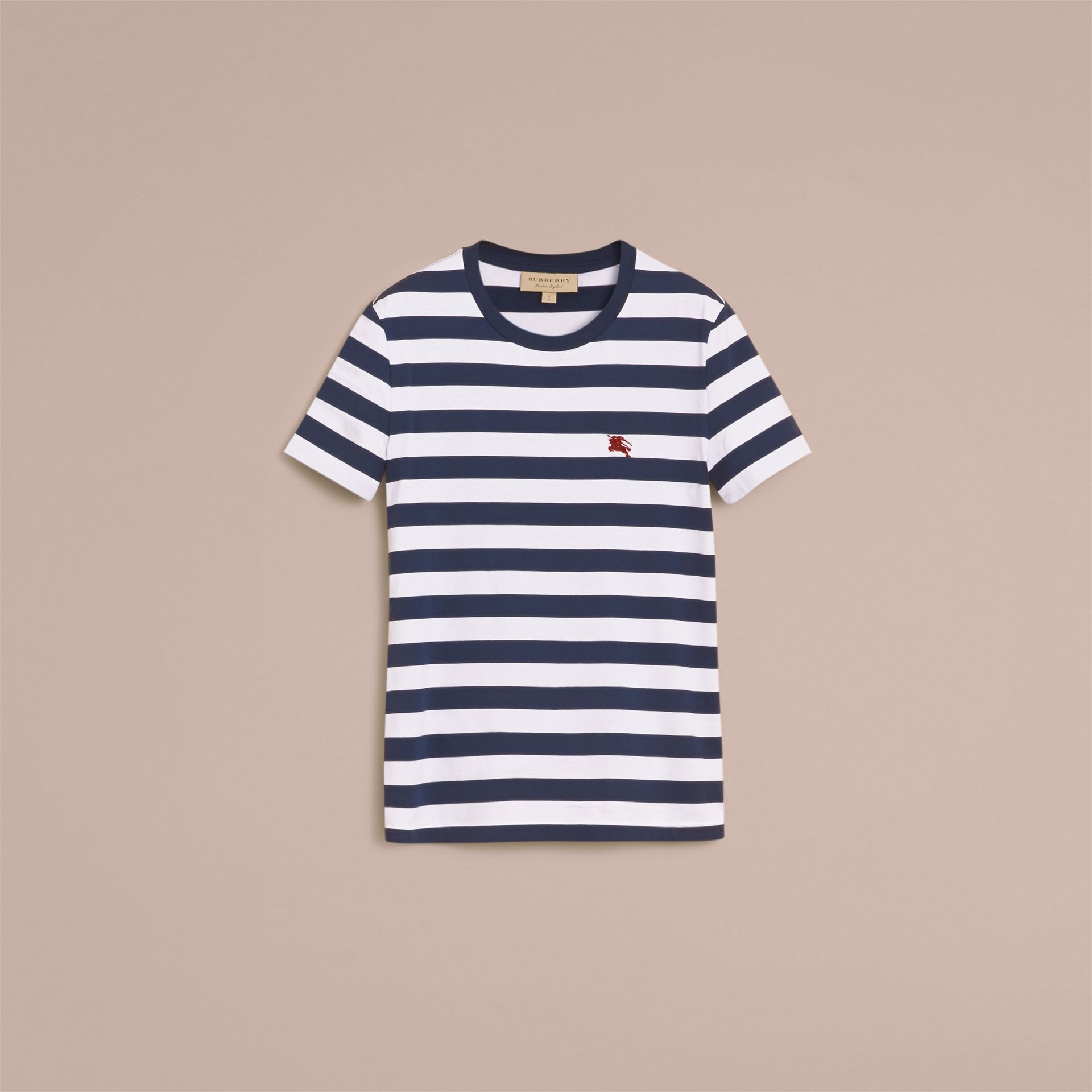 Striped Cotton T-Shirt in White/navy - Men | Burberry - gallery image 4