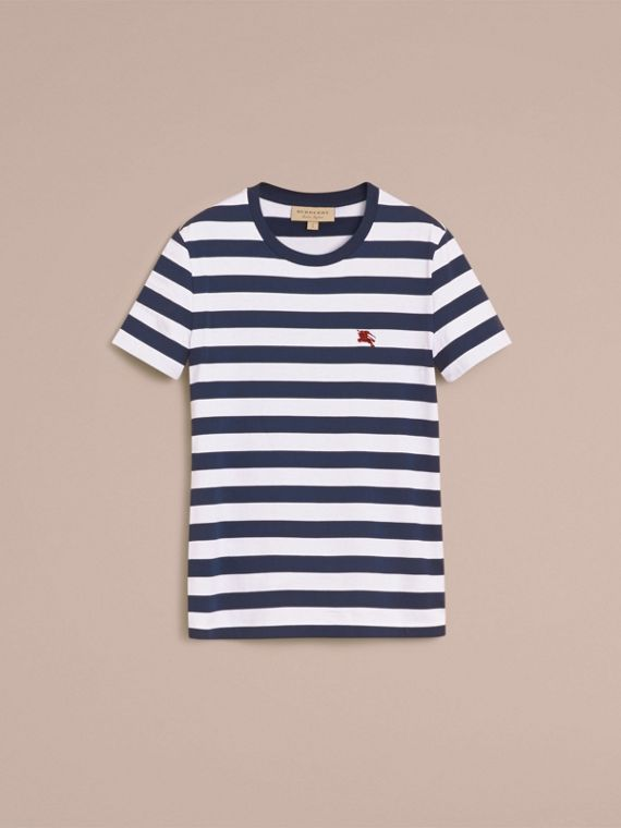 Striped Cotton T-Shirt in White/navy - Men | Burberry - cell image 3