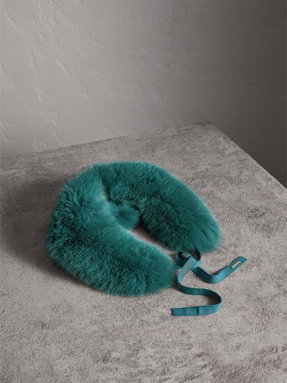Fox Fur Collar with Check Cashmere Lining in Dark Aqua