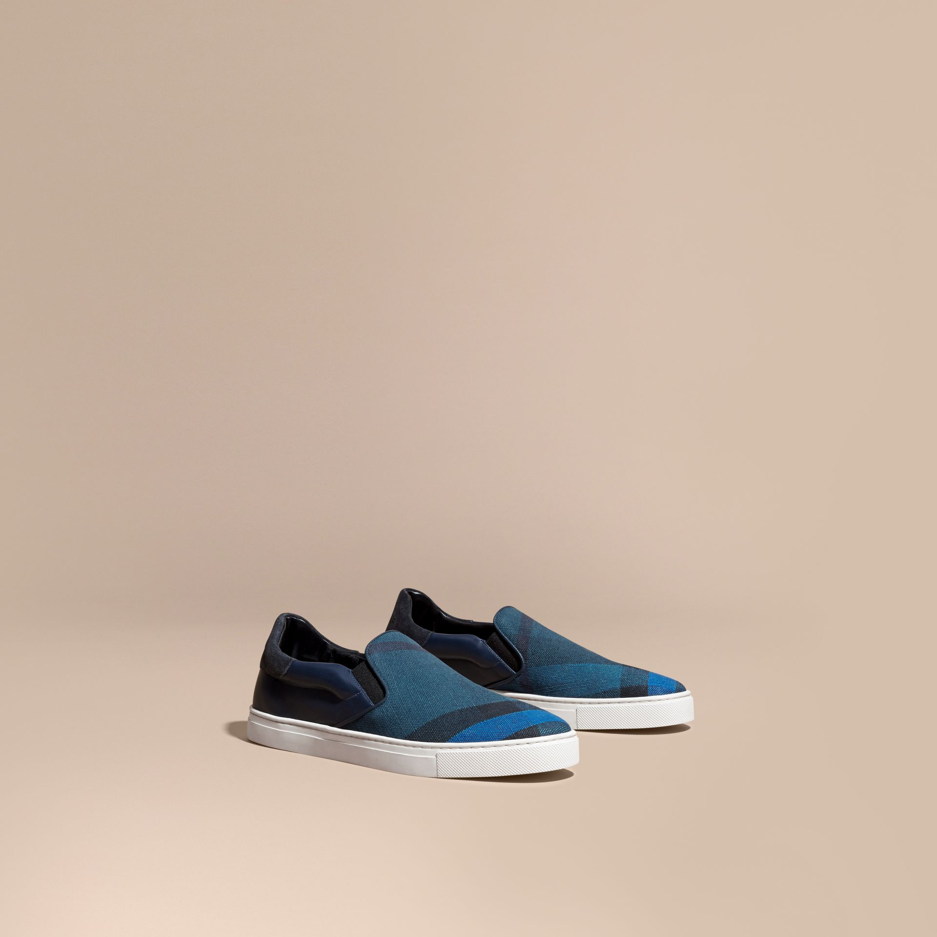 Ultramarine blue/blk Canvas Check and Leather Slip-on Trainers Ultramarine Blue/blk - gallery image 1