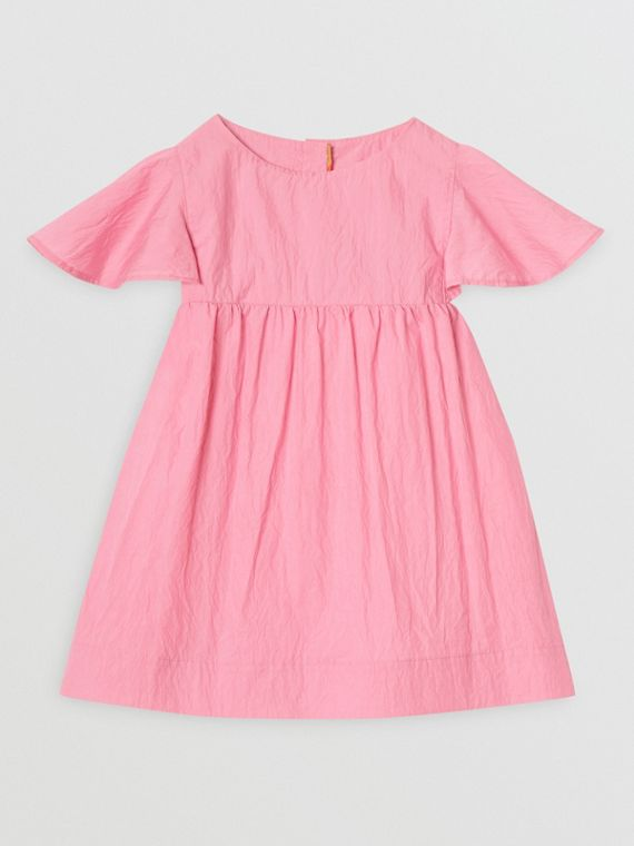 Ruffled Detail Crinkled Cotton Blend Dress in Bright Rose