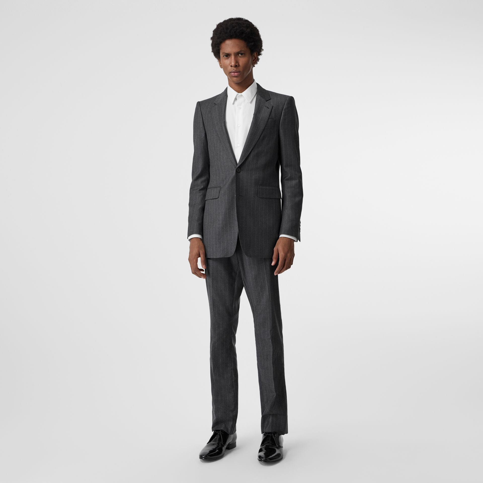 Slim Fit Pinstriped Wool Cashmere Suit in Mid Grey - Men | Burberry - gallery image 0