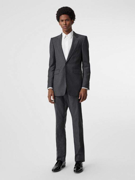 Slim Fit Pinstriped Wool Cashmere Suit in Mid Grey