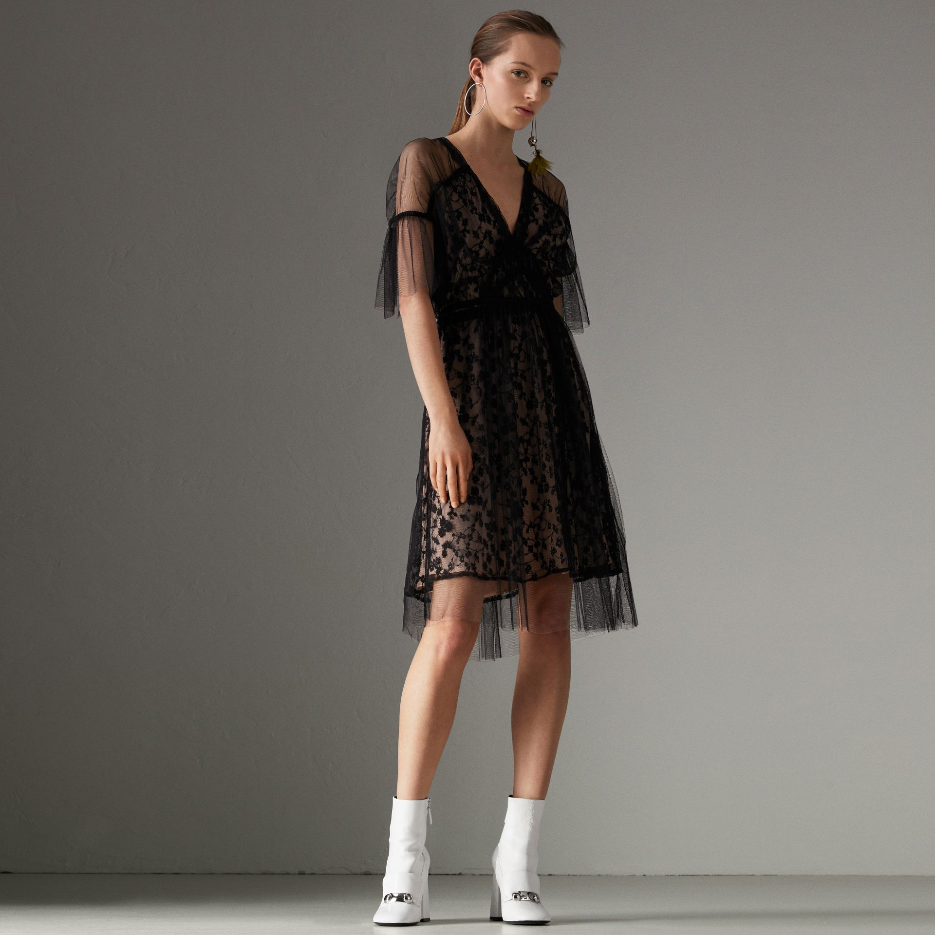 Ruffled Hem Embroidered Tulle Dress in Black - Women | Burberry United States - gallery image 0