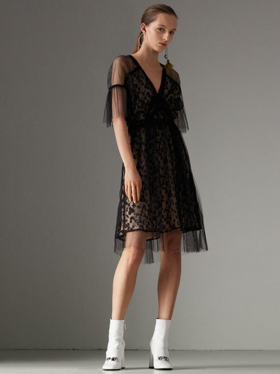 Ruffled Hem Embroidered Tulle Dress in Black