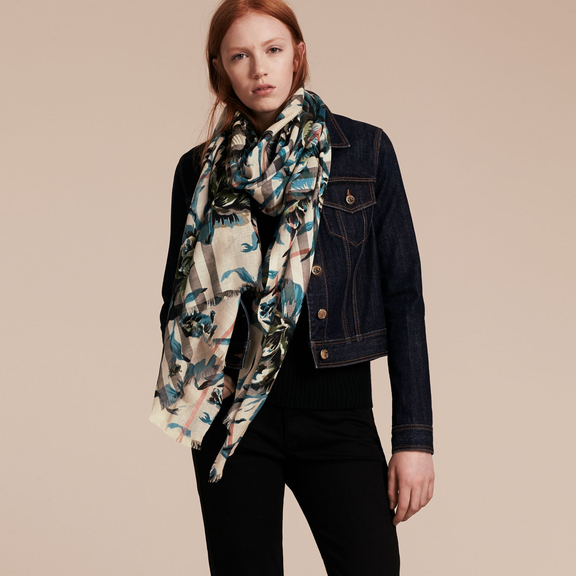 Stone/pl mineral bl Peony Rose Print Check Wool Silk Scarf Stone/pl Mineral Bl - gallery image 3