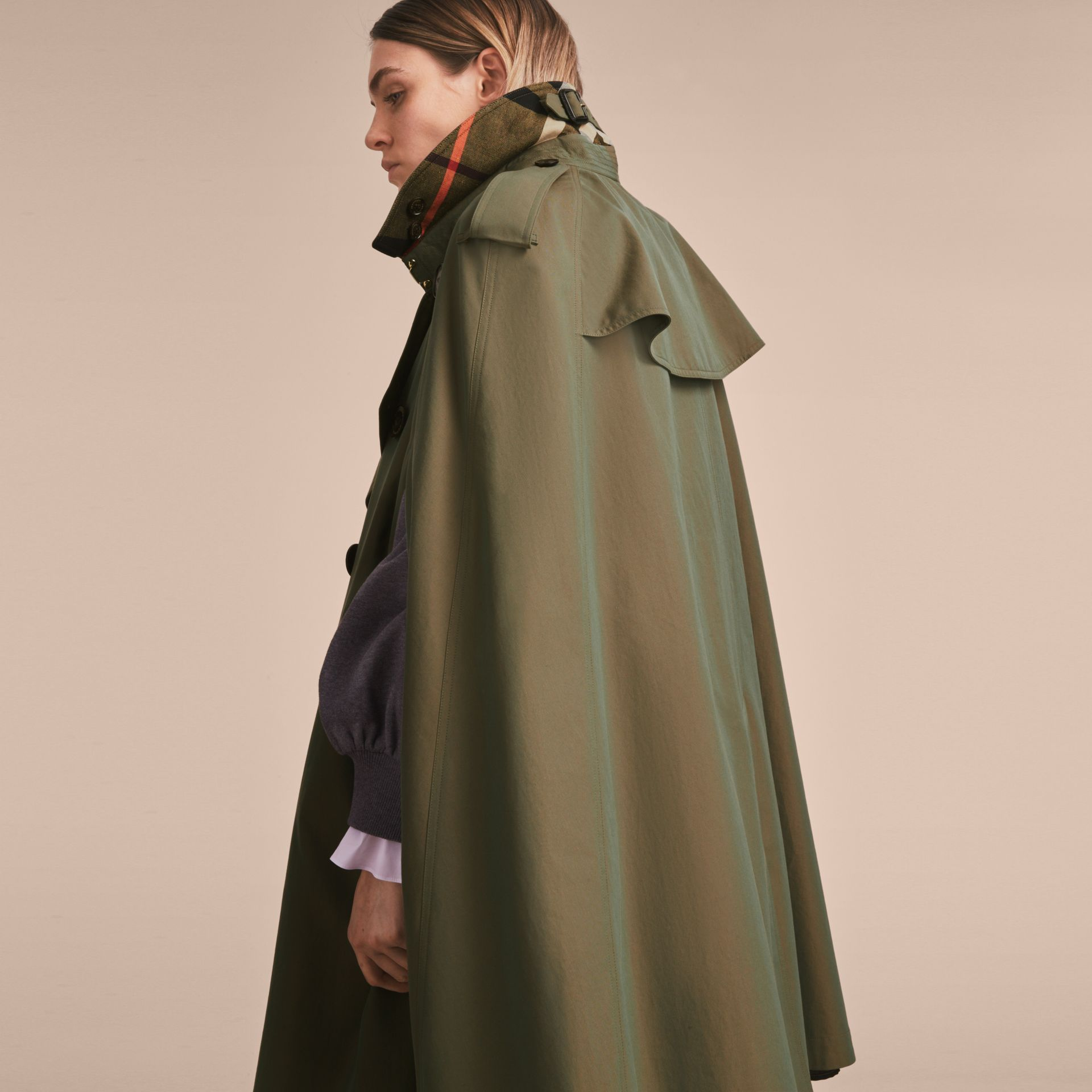 Tropical Gabardine Cape with Check Detail in Bright Olive - Women | Burberry - gallery image 7