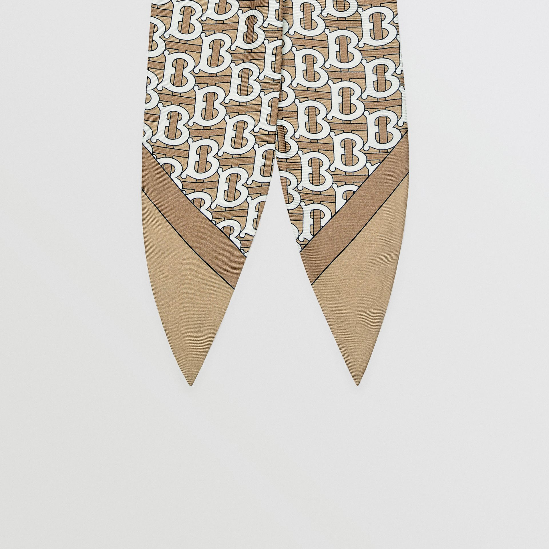 Monogram Print Silk Hair Scarf in Pale Olive - Women | Burberry - gallery image 3