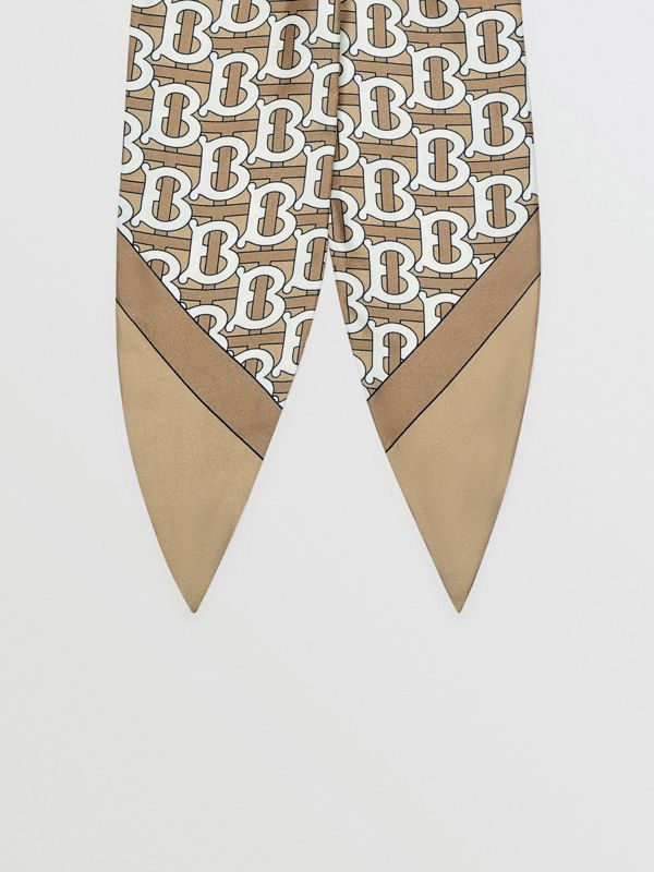 Monogram Print Silk Hair Scarf in Pale Olive - Women | Burberry Singapore - cell image 3