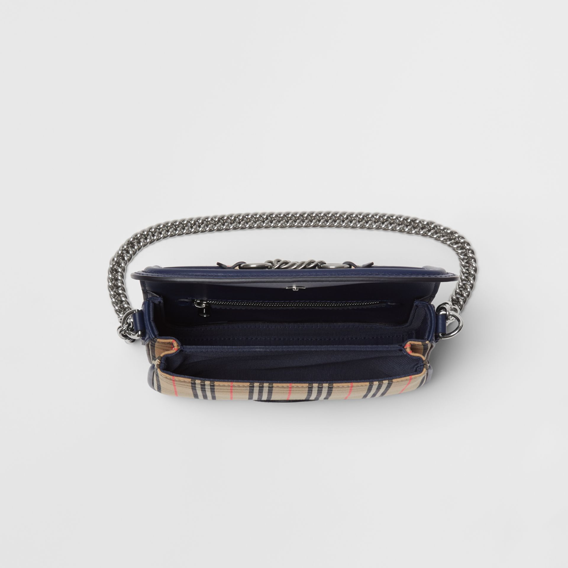 The 1983 Check Link Bag with Leather Trim in Ink Blue - Women | Burberry - gallery image 5