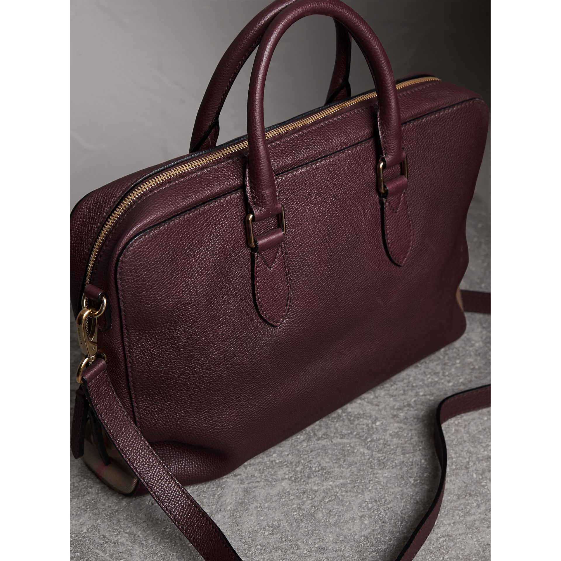 Leather and House Check Briefcase in Wine - Men | Burberry - gallery image 5