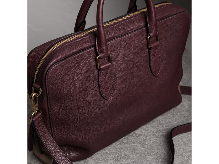 Leather and House Check Briefcase in Wine - Men | Burberry - cell image 4
