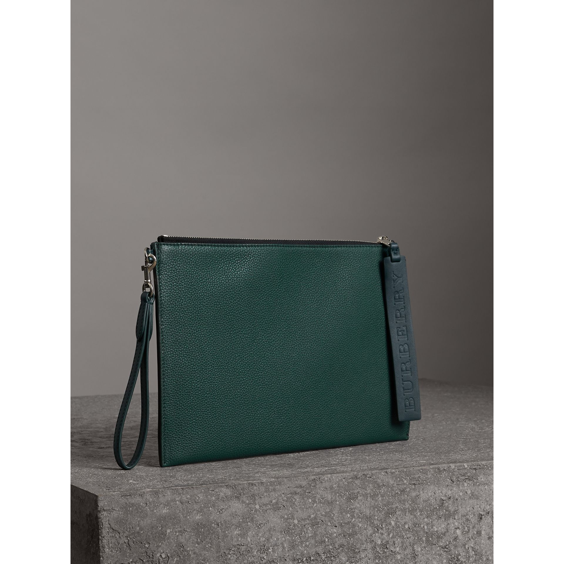 Grainy Leather Zip Pouch in Dark Cyan | Burberry - gallery image 4