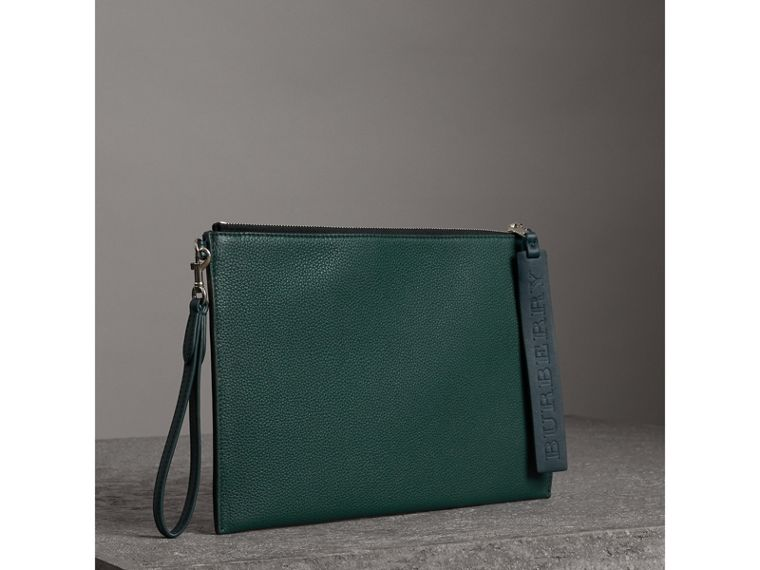 Grainy Leather Zip Pouch in Dark Cyan | Burberry - cell image 4