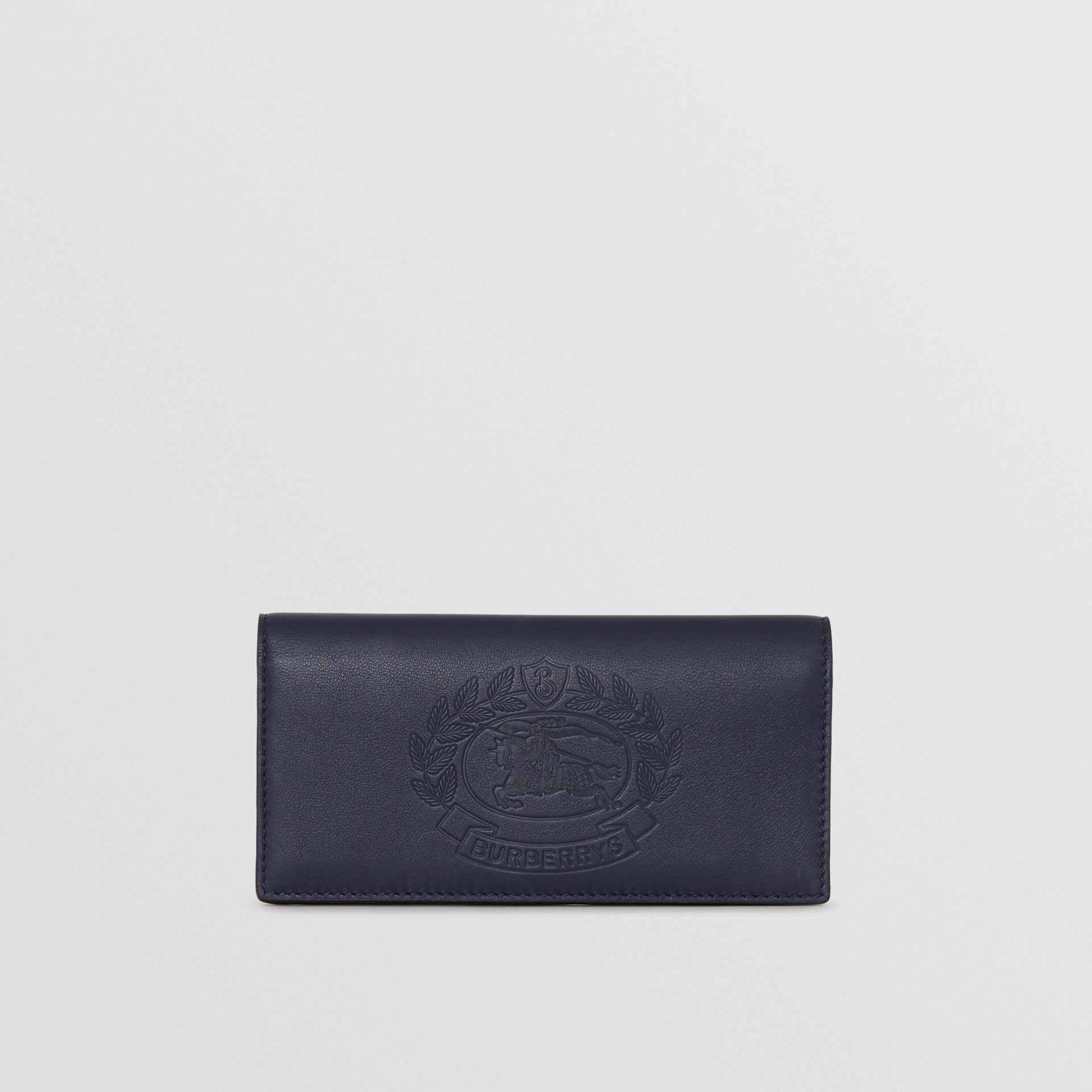 Embossed Crest Leather Continental Wallet in Regency Blue - Men | Burberry - gallery image 2