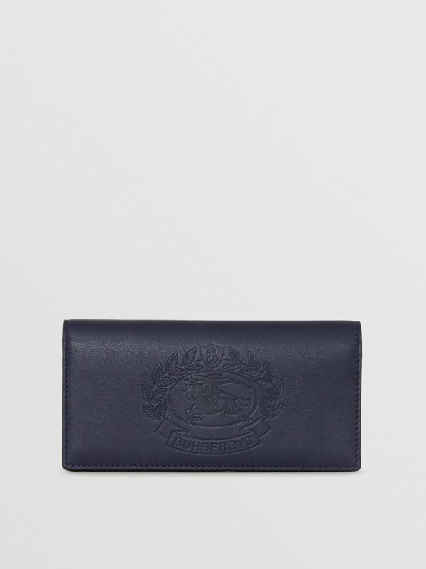 Embossed Crest Leather Continental Wallet in Regency Blue - Men | Burberry - cell image 2