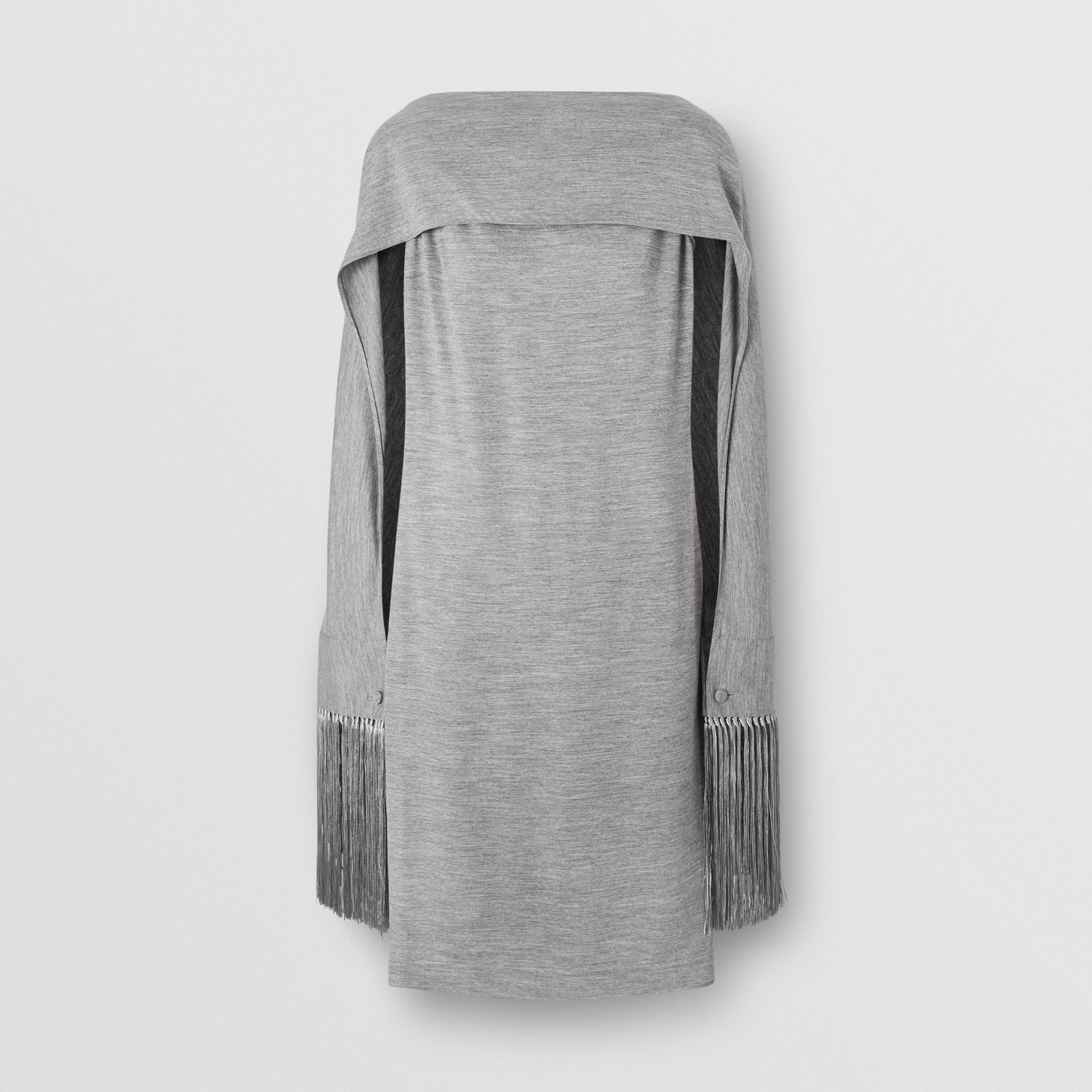 Merino Wool Sleeveless Dress with Fringed Capelet in Cloud Grey - Women | Burberry United Kingdom - gallery image 0