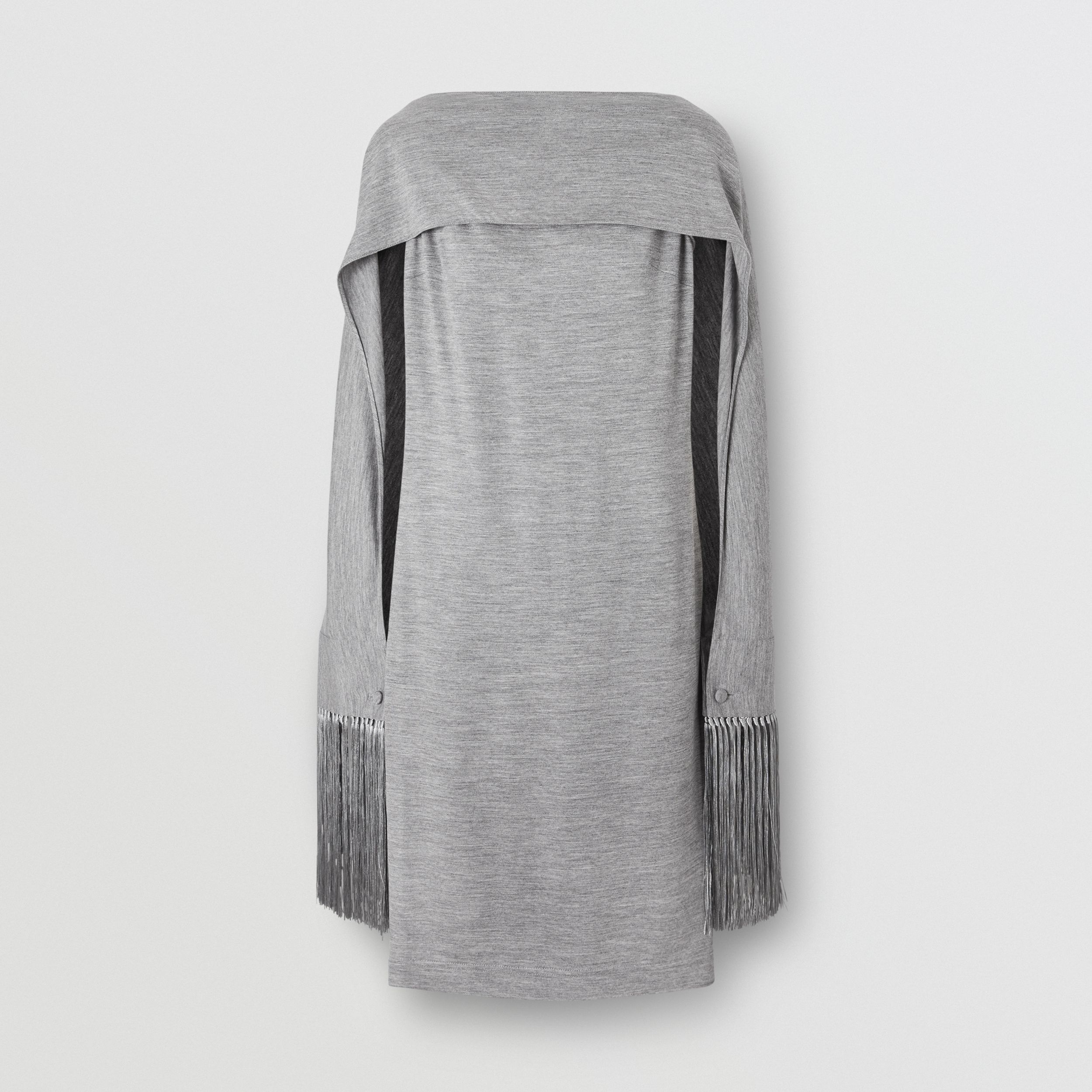 Merino Wool Sleeveless Dress with Fringed Capelet in Cloud Grey - Women | Burberry - 1
