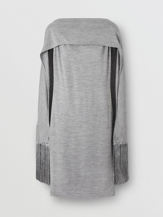 Merino Wool Sleeveless Dress with Fringed Capelet in Cloud Grey