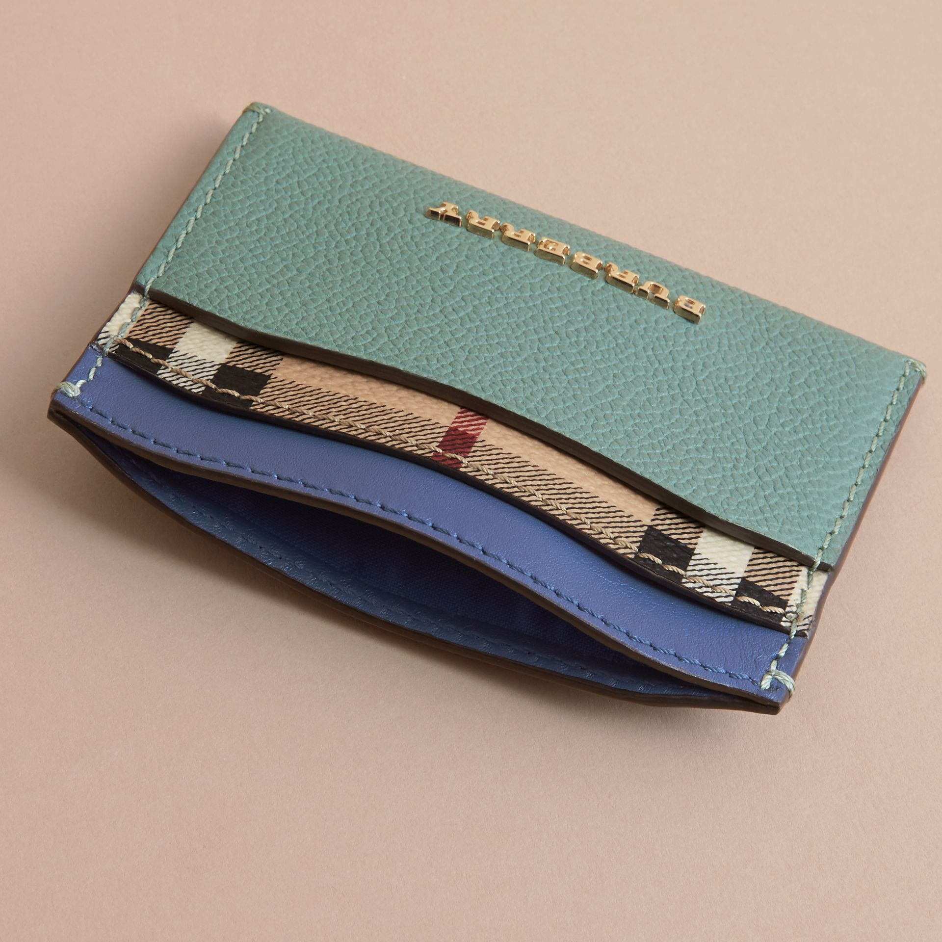 Colour Block Leather and Haymarket Check Card Case in Eucalyptus Grn/multi - Women | Burberry - gallery image 4