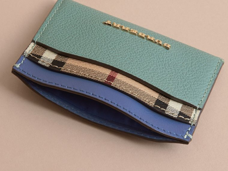 Colour Block Leather and Haymarket Check Card Case Eucalyptus Grn/multi - cell image 4