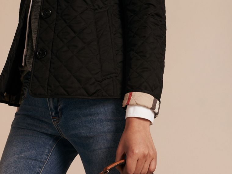 Diamond Quilted Jacket in Black - cell image 4