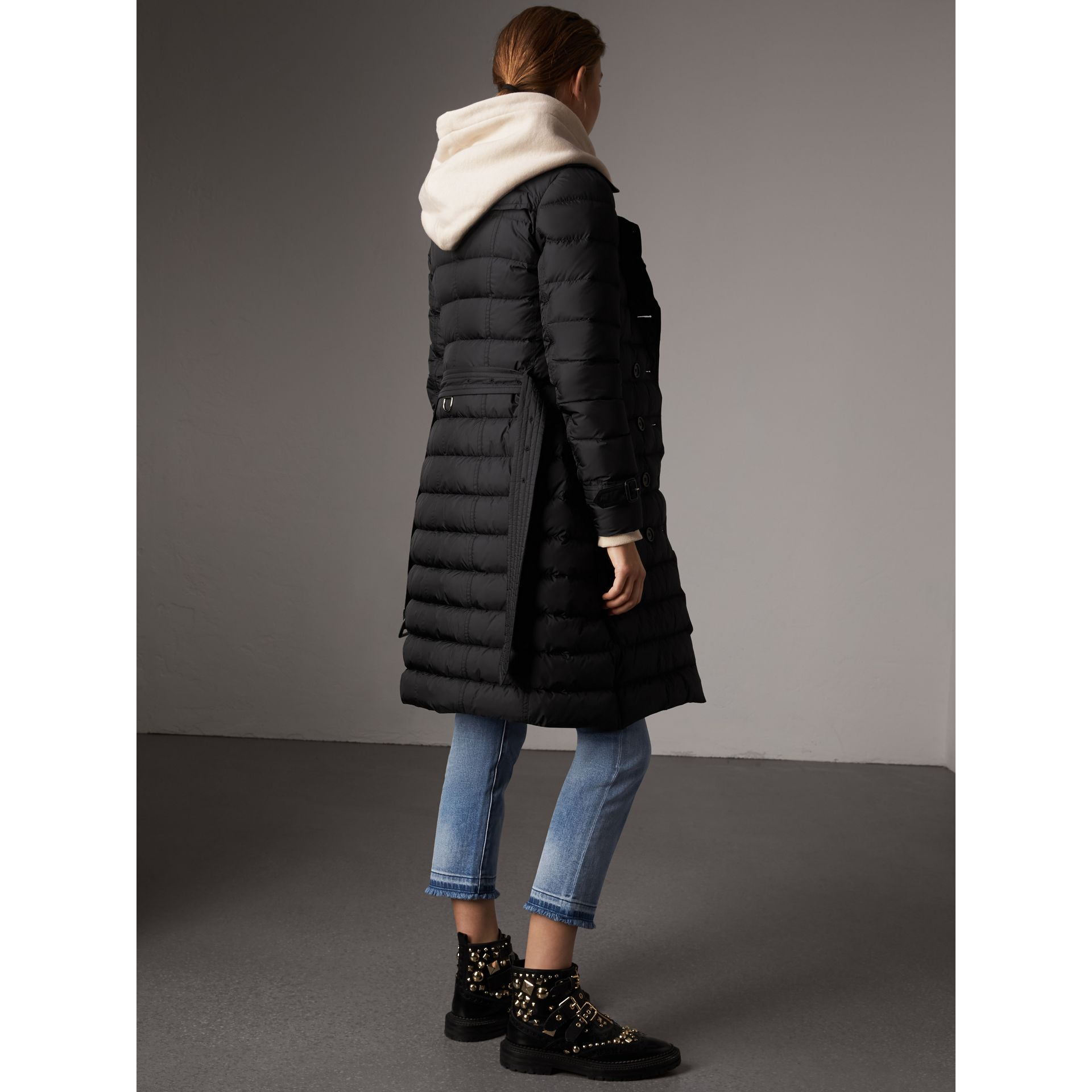 Detachable Hood Fur Trim Down-filled Puffer Coat in Black - Women | Burberry - gallery image 3