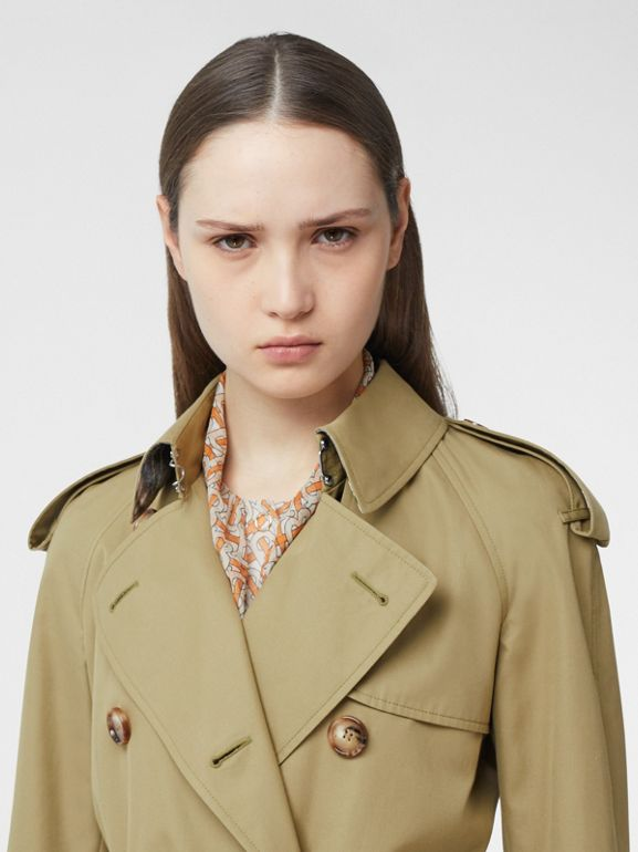 Animalia Print-lined Cotton Gabardine Trench Coat in Rich Olive - Women | Burberry Canada - cell image 1