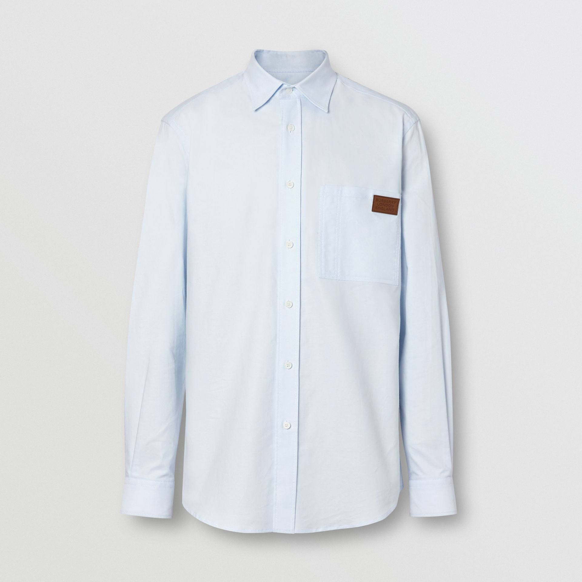 Logo Detail Cotton Oxford Shirt in Sky Blue - Men | Burberry - gallery image 3