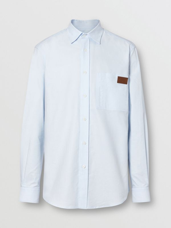 Logo Detail Cotton Oxford Shirt in Sky Blue - Men | Burberry - cell image 3
