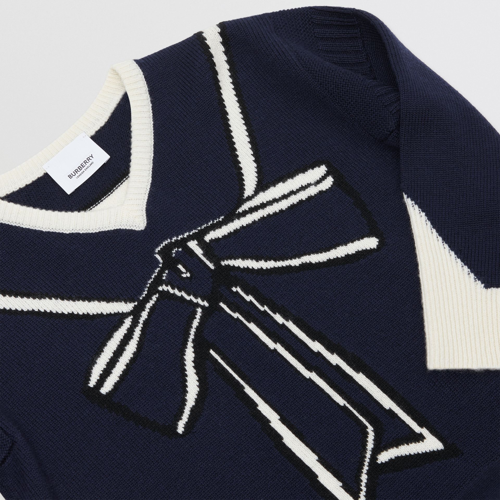 Trompe L'Oeil Intarsia Wool Cashmere Dress in Navy | Burberry Australia - gallery image 1