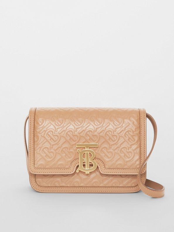 Small Monogram Leather TB Bag in Light Camel