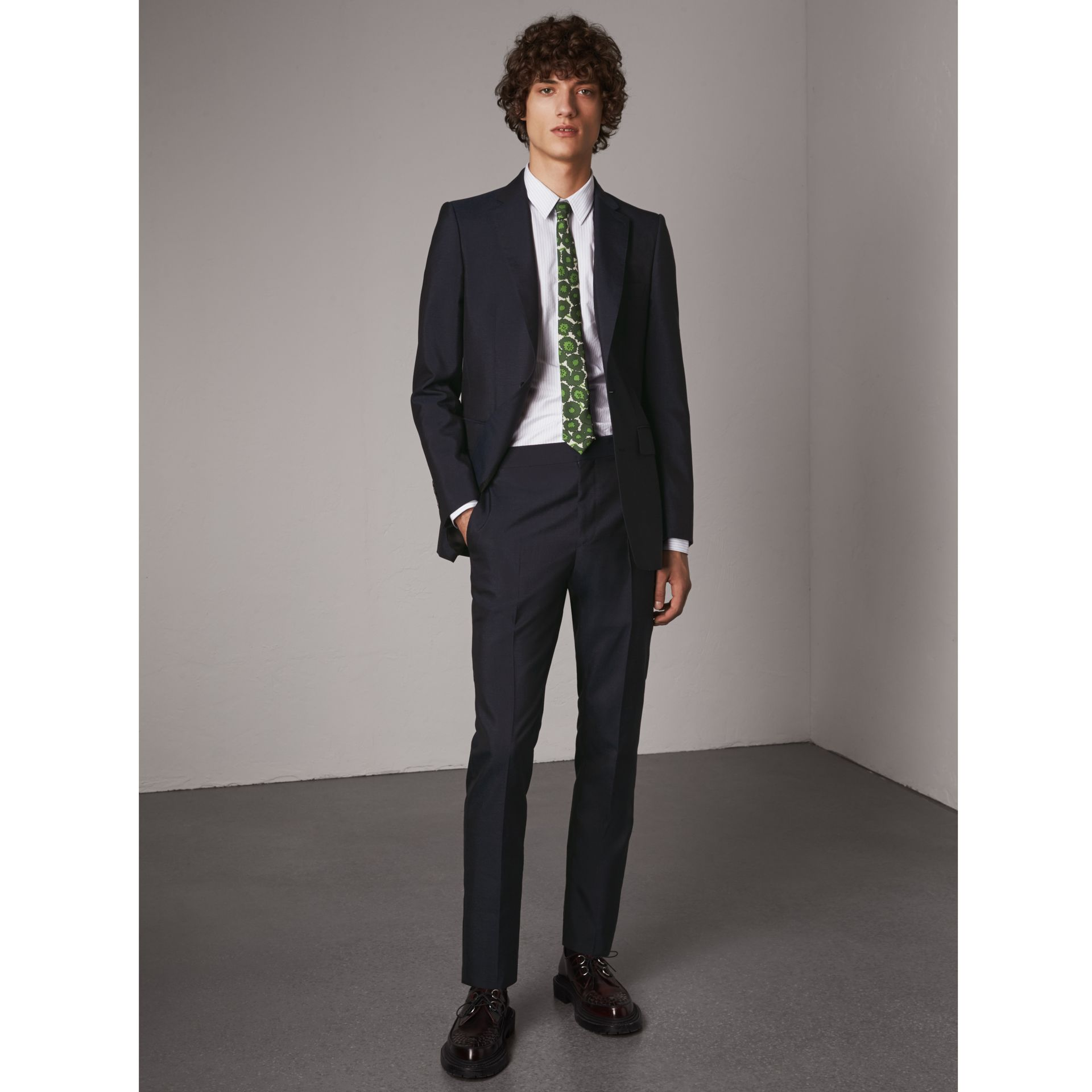 Slim Fit Mohair Suit in Navy - Men | Burberry - gallery image 0