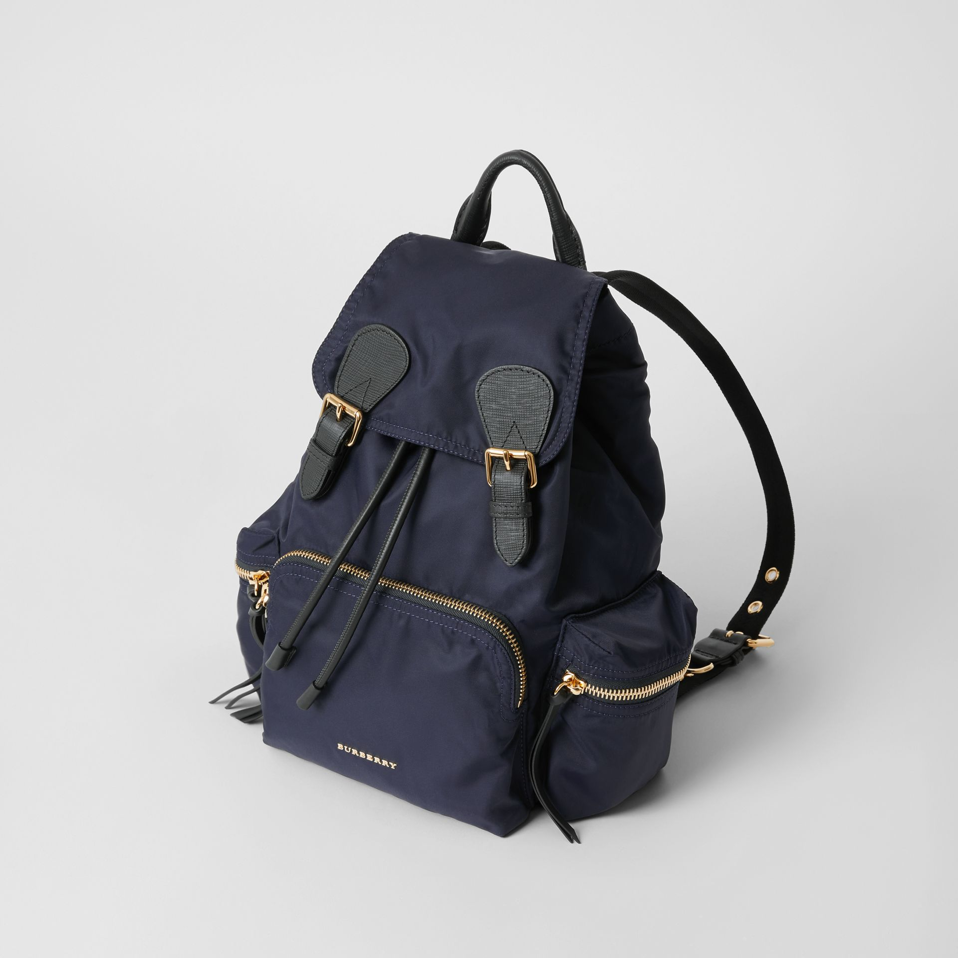 The Medium Rucksack in Technical Nylon and Leather in Ink Blue - Women | Burberry - gallery image 3