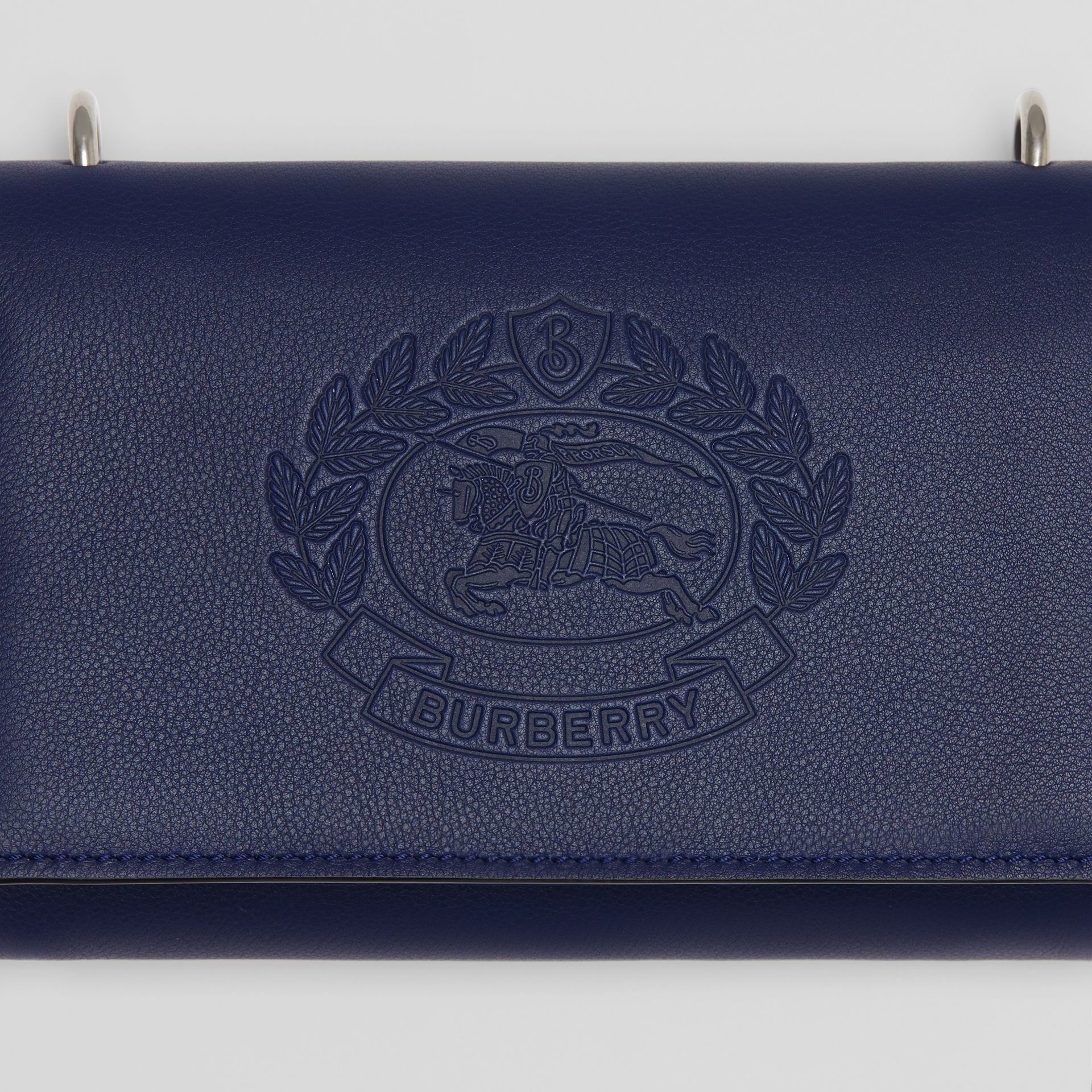 Embossed Crest Leather Wallet with Detachable Strap in Regency Blue - Women | Burberry - gallery image 1