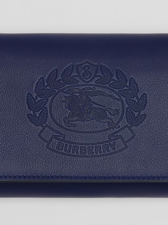 Embossed Crest Leather Wallet with Detachable Strap in Regency Blue - Women | Burberry - cell image 1