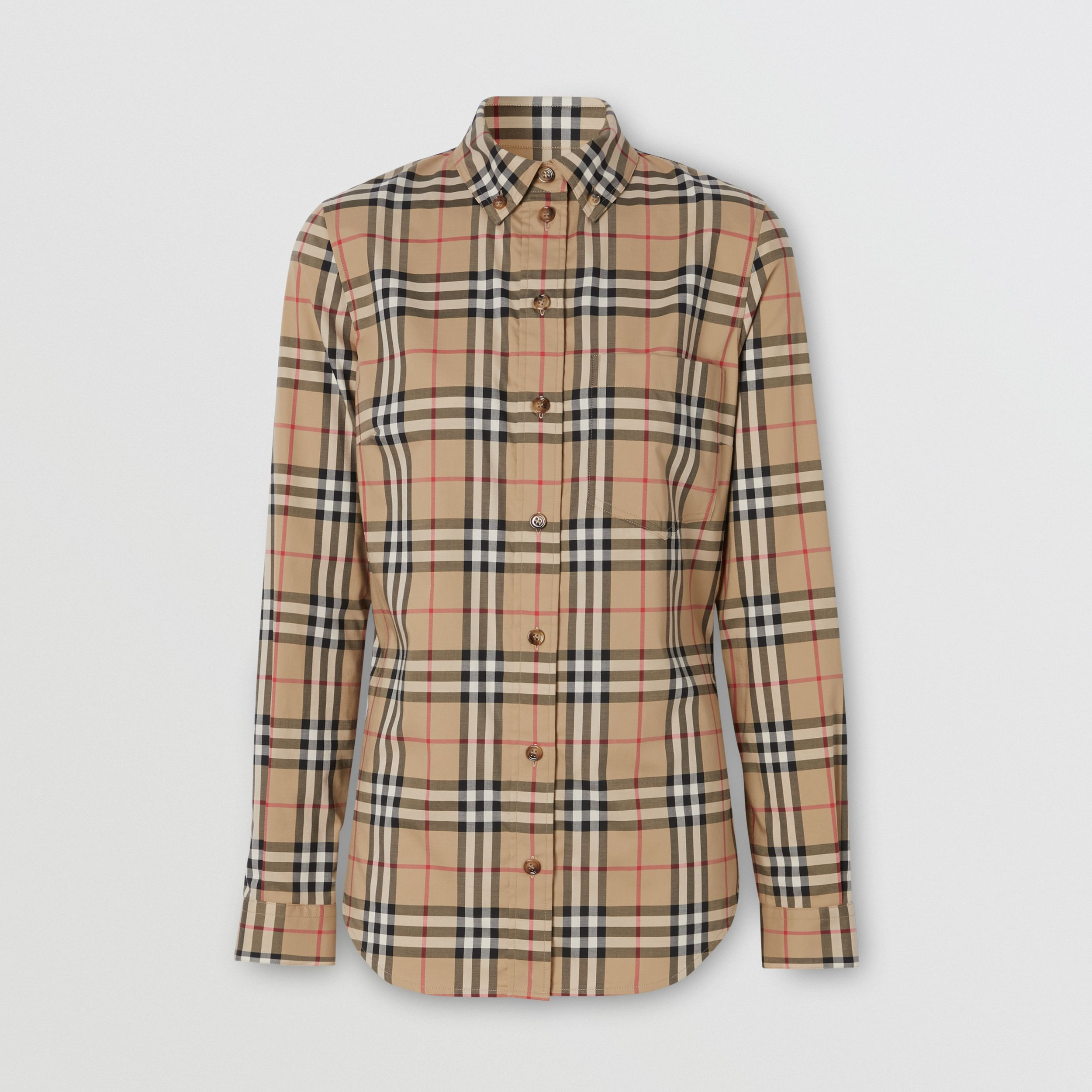 Button-down Collar Vintage Check Stretch Cotton Shirt in Archive Beige - Women | Burberry - 4