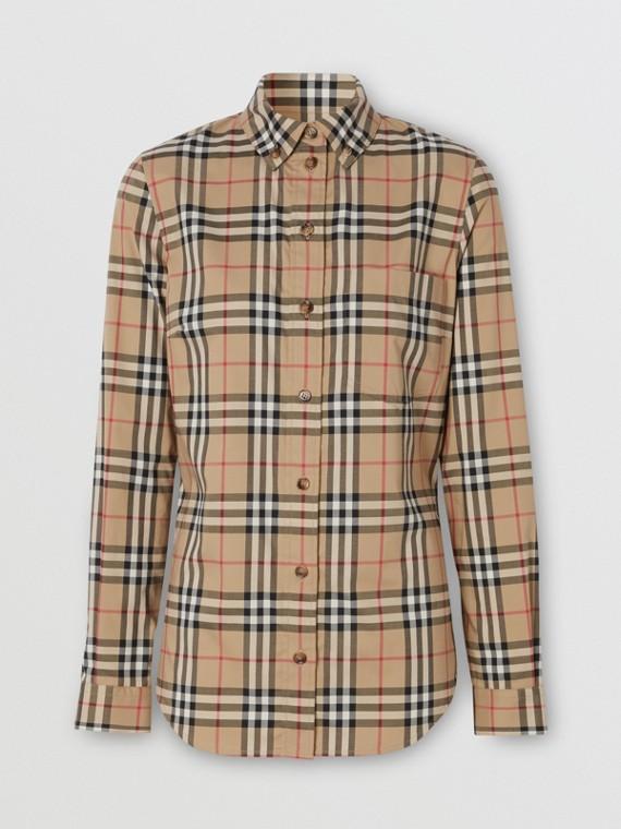 Camicia in cotone stretch con motivo Vintage check e colletto button-down (Beige Archivio)
