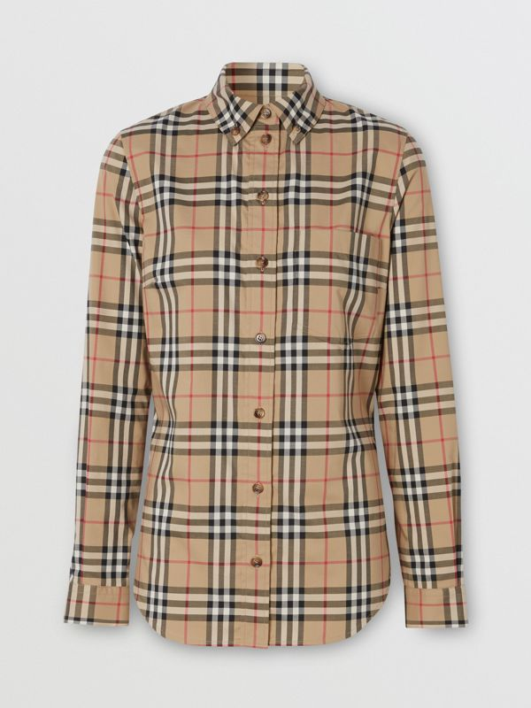 Camicia in cotone stretch con motivo Vintage check e colletto button-down (Beige Archivio) - Donna | Burberry - cell image 3