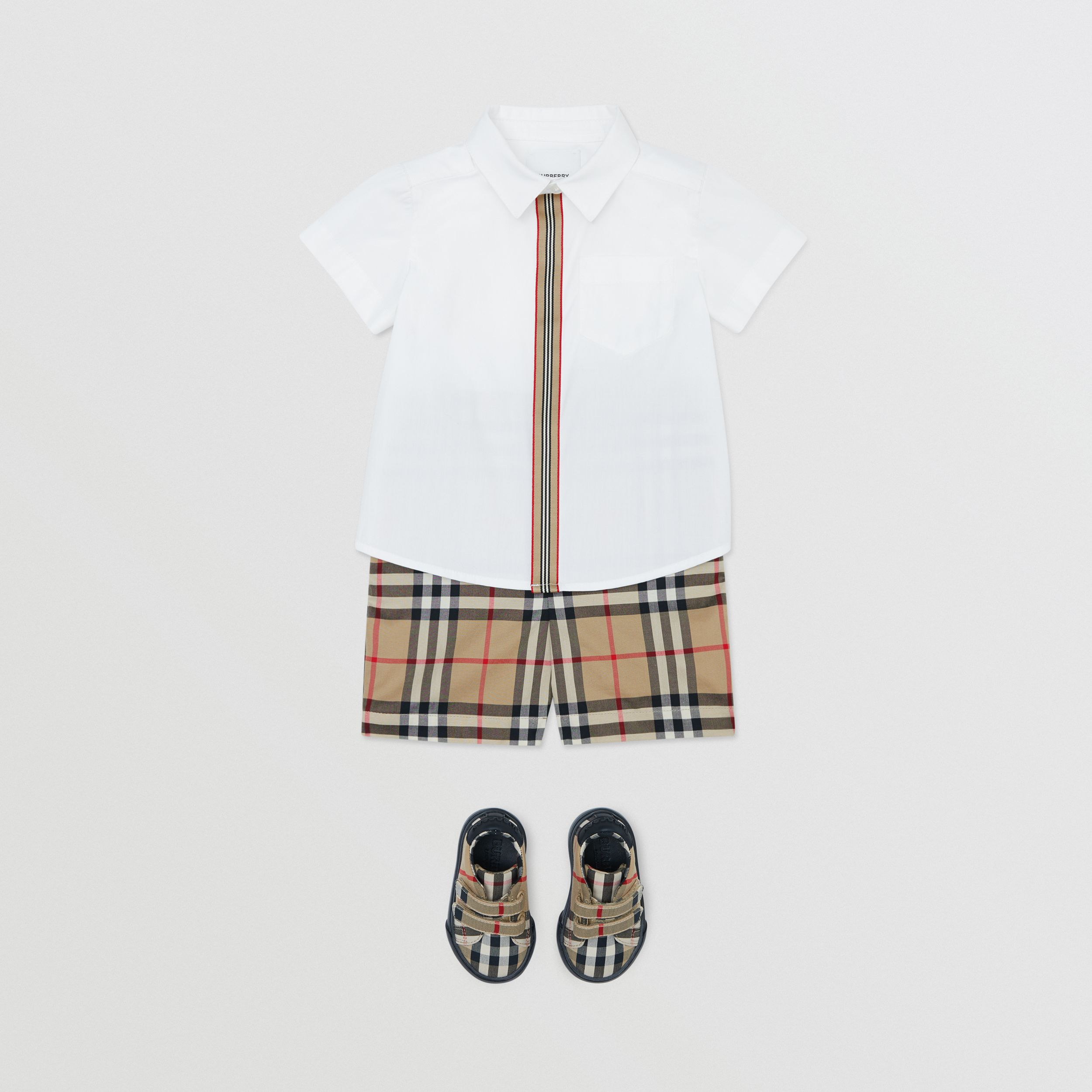 Short-sleeve Icon Stripe Trim Stretch Cotton Shirt in White - Children | Burberry - 4