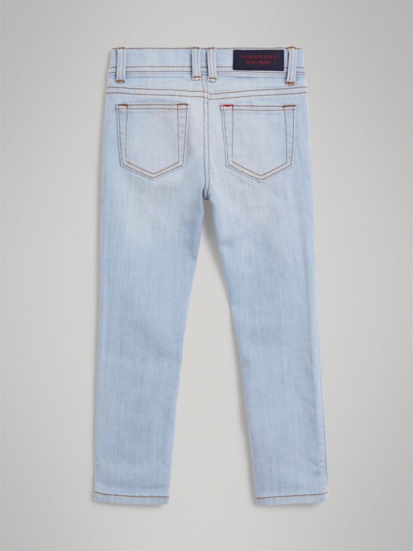 Skinny Fit Stretch Jeans in Light Blue - Girl | Burberry United Kingdom - cell image 3