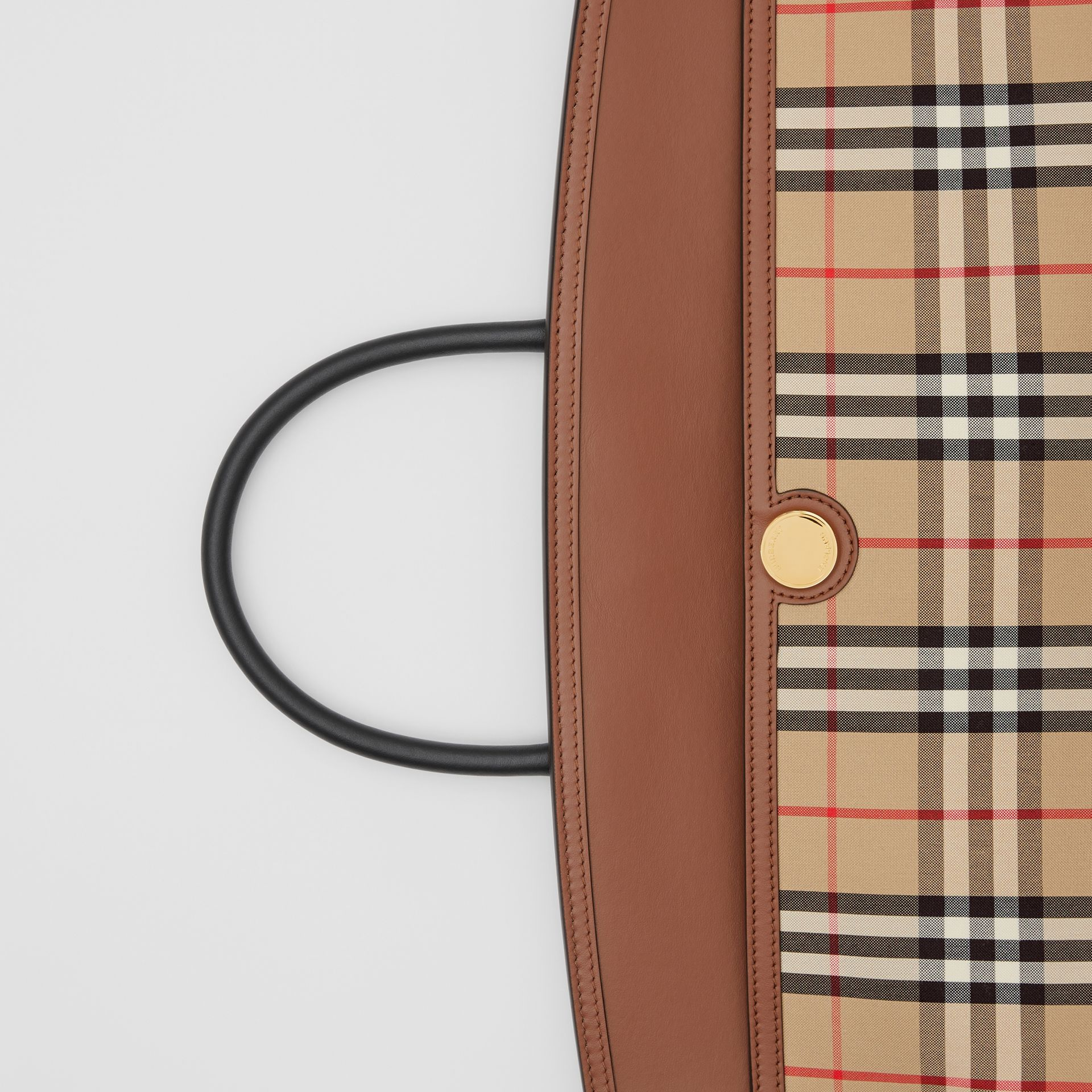 Vintage Check and Leather Society Top Handle Bag in Archive Beige/tan - Women | Burberry United Kingdom - gallery image 1