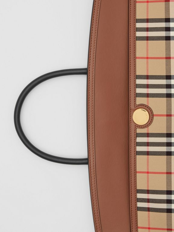 Vintage Check and Leather Society Top Handle Bag in Archive Beige/tan - Women | Burberry United Kingdom - cell image 1