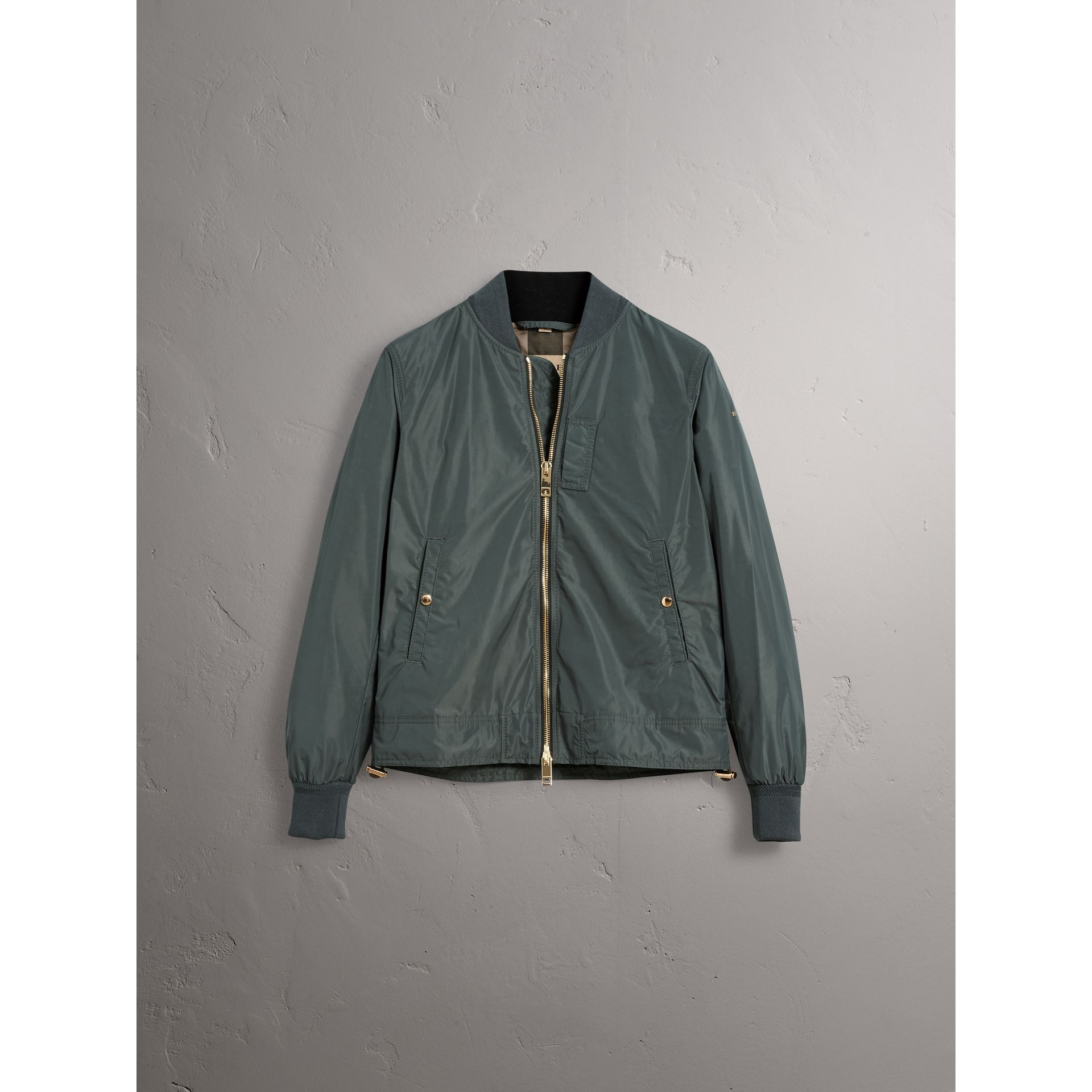 Shape-memory Taffeta Bomber Jacket in Smokey Green - Men | Burberry - gallery image 3