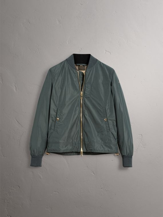 Shape-memory Taffeta Bomber Jacket in Smokey Green - Men | Burberry - cell image 3