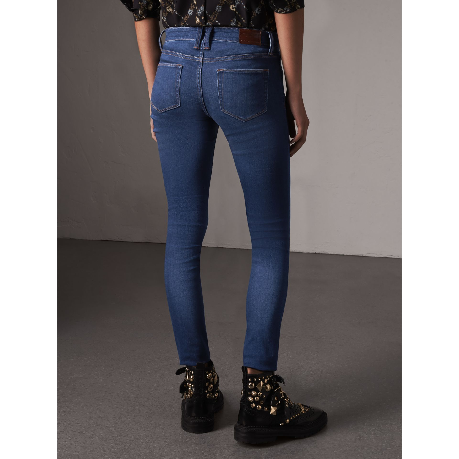 Skinny Fit Low-rise Power-stretch Jeans in Mid Indigo - Women | Burberry Singapore - gallery image 3