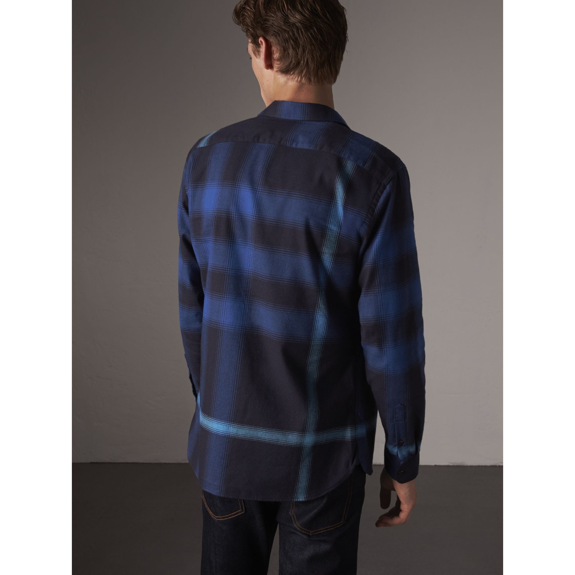 Ombré Check Cotton Flannel Shirt in Cobalt Blue - Men | Burberry - gallery image 2