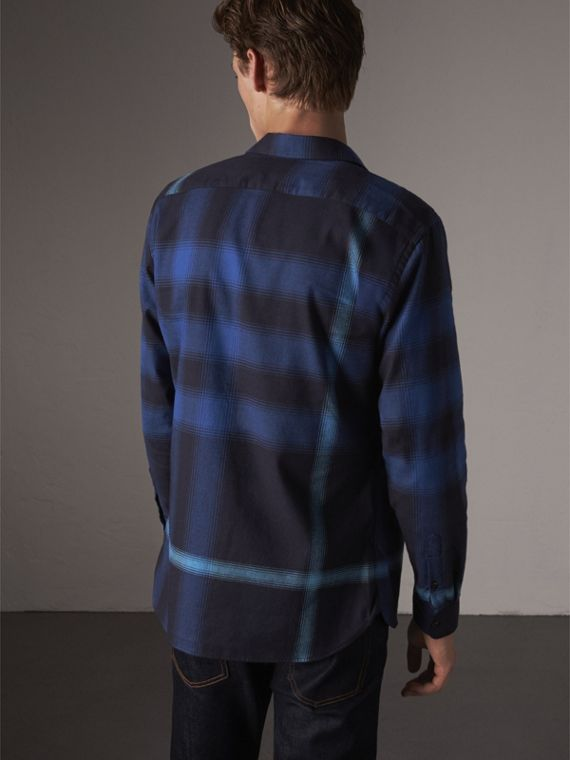 Ombré Check Cotton Flannel Shirt in Cobalt Blue - Men | Burberry Canada - cell image 2
